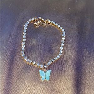 Light blue butterfly rhinestone anklet